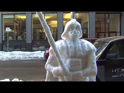 Boston dad builds life-size Darth Vader out of snow