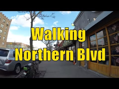 ⁴ᴷ Walking Tour of Queens, NYC - Northern Boulevard from Flushing to Little Neck (Koreatown)