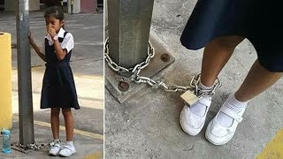 Woman Chains Daughter Up In Parking Lot