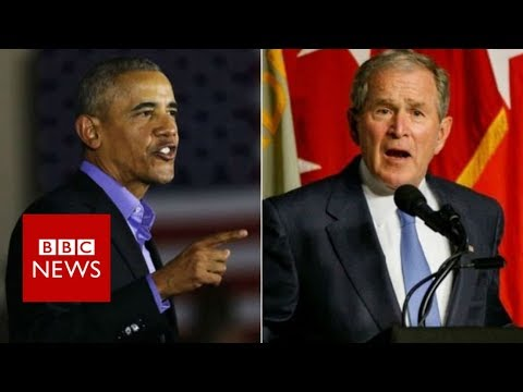 Former Presidents Obama and Bush decry Trump era politics - BBC News