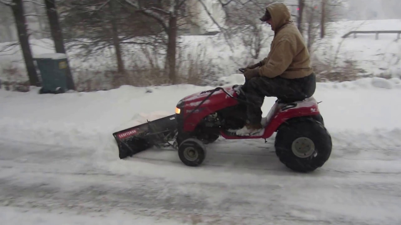 Plowing Snow With Lawn Tractor Without Tire Chains Using 22in Atv
