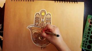 Drawing the Hamsa...and the evil eye