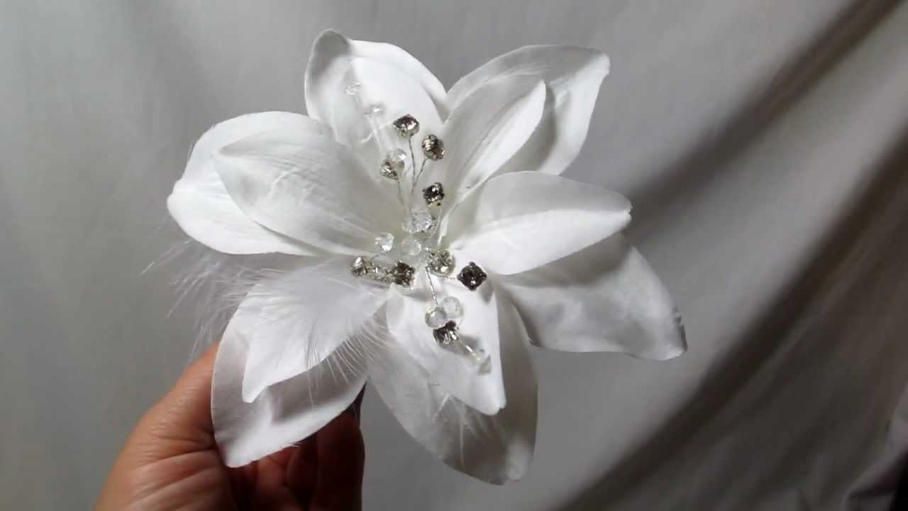 Large bright white lily bridal wedding hair flower clip by large bright white lily bridal wedding hair flower clip by hairflowers youtube mightylinksfo