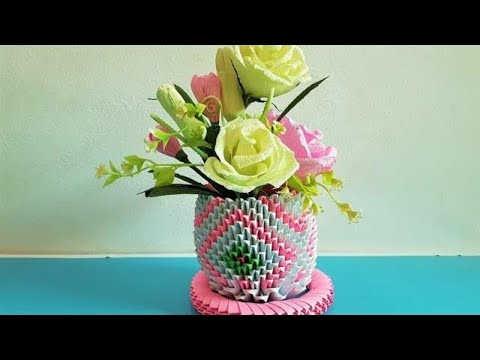 How To Make 3D Origami Paper Flower Basket   Crafty Make Paper Flora Basket 3D   DIY Flora Basket 3D