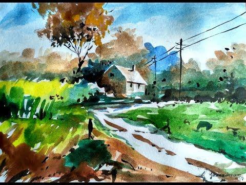 Beginners Watercolor : How to Draw A House Landscape | Paint with david