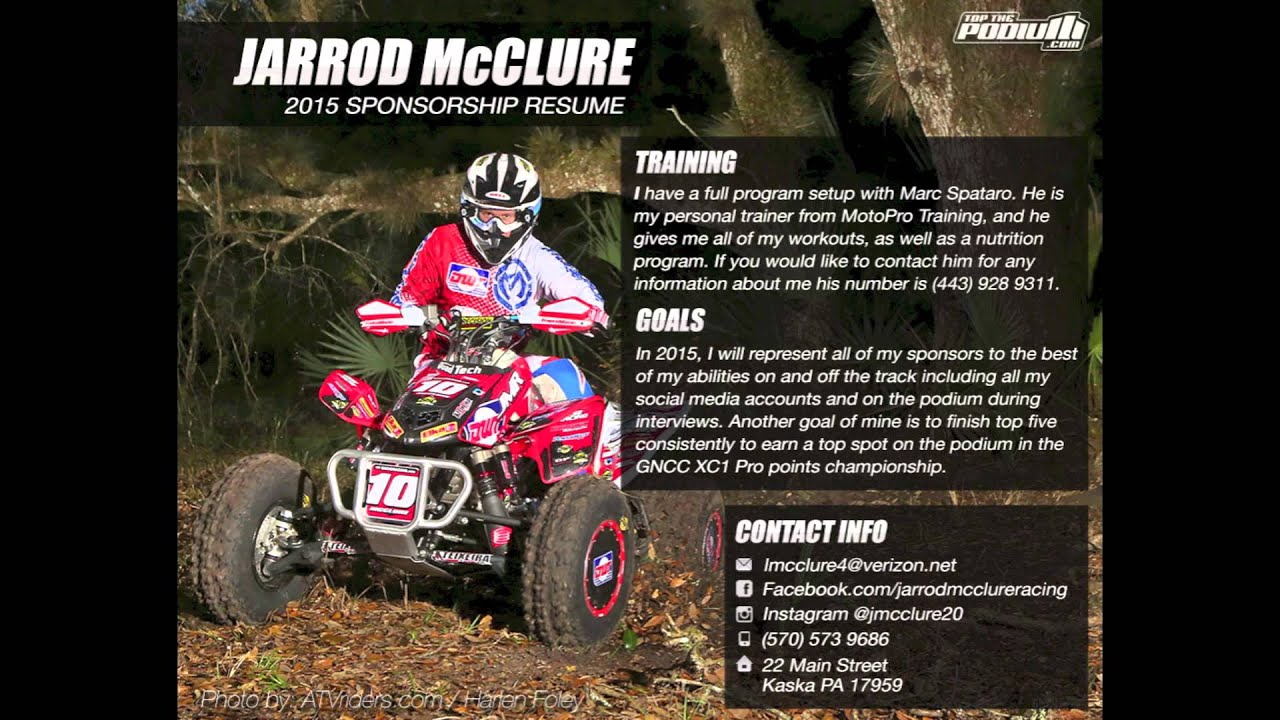Jarrod mcclure 39 s 2015 sponsorship resume youtube for Motosport templates