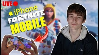 FORTNITE MOBILE - iPhone 8+ HANDCAM! 4 FINGER CLAW / AGGRESSIVE BUILDER / Trickshots Daily! Tune In!