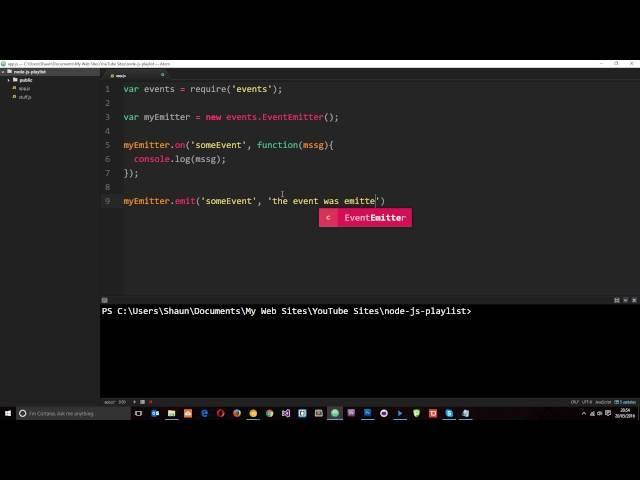 Node JS Tutorial for Beginners #8 - The Node Event Emitter