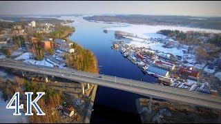 Finland above Laitaatsalmi Bridges 2019  VT14 Savonlinna 4K