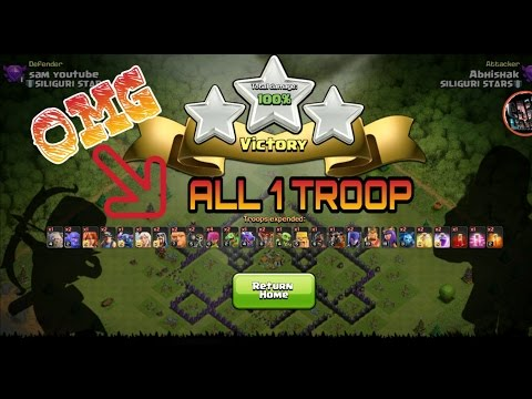 clash of clan all troop 1  destroy th9 half max
