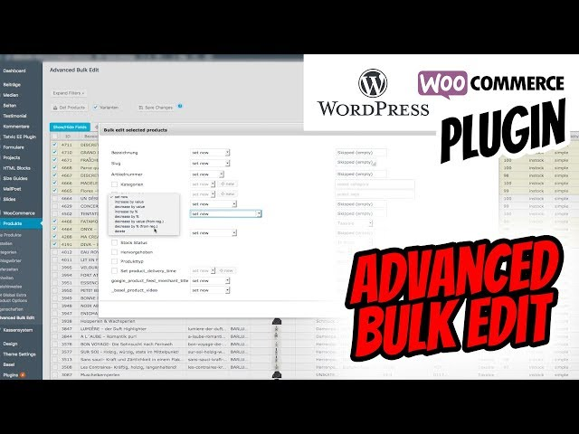 WooCommerce Advanced Bulk Edit Massenbearbeitung auf Deutsch erklärt