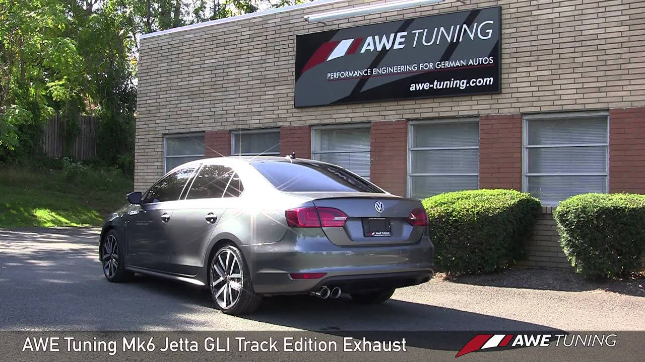 awe tuning mk6 jetta gli track edition exhaust stock downpipe youtube. Black Bedroom Furniture Sets. Home Design Ideas