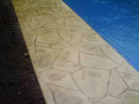 Stamped Concrete Pool Patio Flagstone Pattern and Colors  YouTube