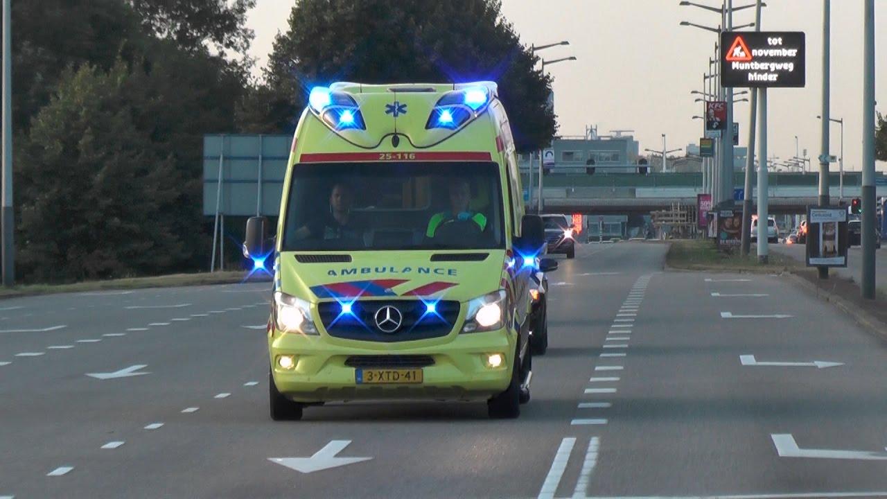 2x Ambulance En Politie Flevoland Met Spoed Naar Het Amc Youtube