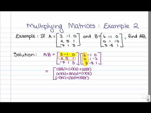 Matrix Multiplication Example 2 3x3 Youtube
