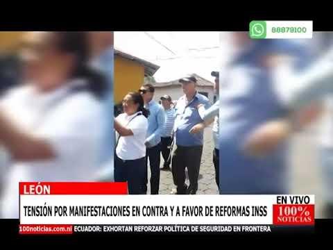 León: tension por manifestaciones en contra y a favor de reformas Inss