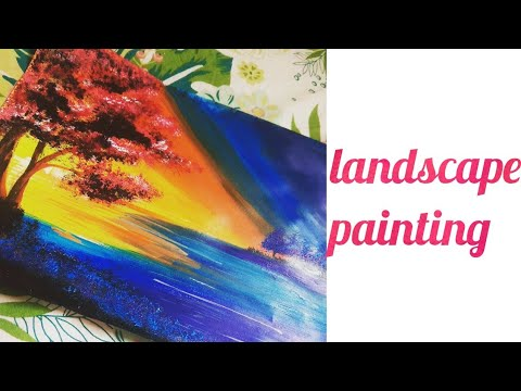 landscape painting | simple acrylic painting technique | landscape painting with acrylic colour