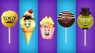 Cake Pop, Ice Cream, Cup Cake, Chocolate and Lollipop Finger Family Songs