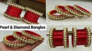 How To Make Designer Pearl and stone Bangles/Latest Bangles/SILK THREAD BANGLES