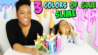 3 COLORS OF GLUE SLIME CHALLENGE , 3 couleurs pour faire un slime !FR