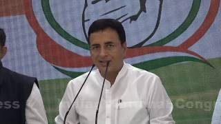 Jet Airways Bail Out: AICC Press Briefing By Randeep Singh Surjewala at Congress HQ