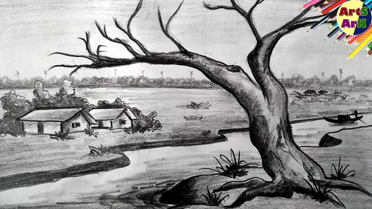 Pencil Shading Scenery Drawing 4 - YouTube