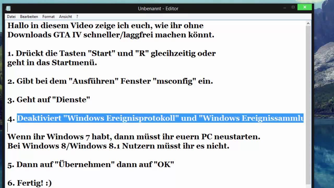 Windows 8 1 Schneller Machen grand theft auto iv schneller laggfrei machen ohne downloads