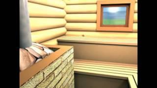 баня 6*6 с террасой и мансардой из сруба(терраса с возможностью остекления, кухня-прихожая, моечная, парная с дровяной печью и комната отдыха на..., 2016-01-28T11:26:48.000Z)