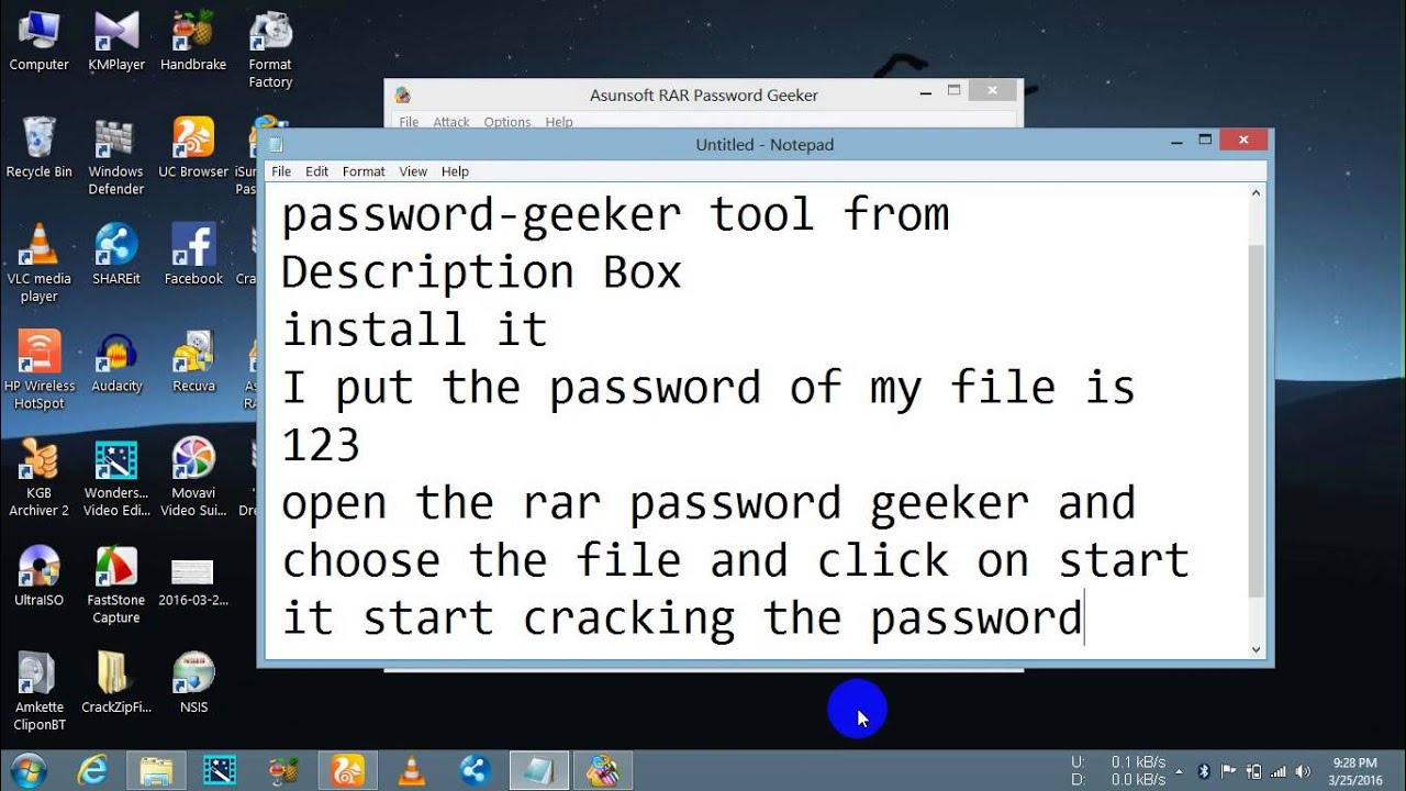 how to crack the password of rar file