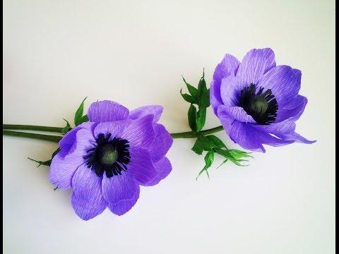 How To Make Anemone Flower From Crepe Paper Craft Tutorial Youtube