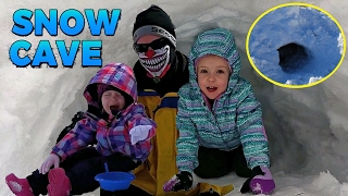 Creepy Clown Scares the Girls in the Snow Cave!