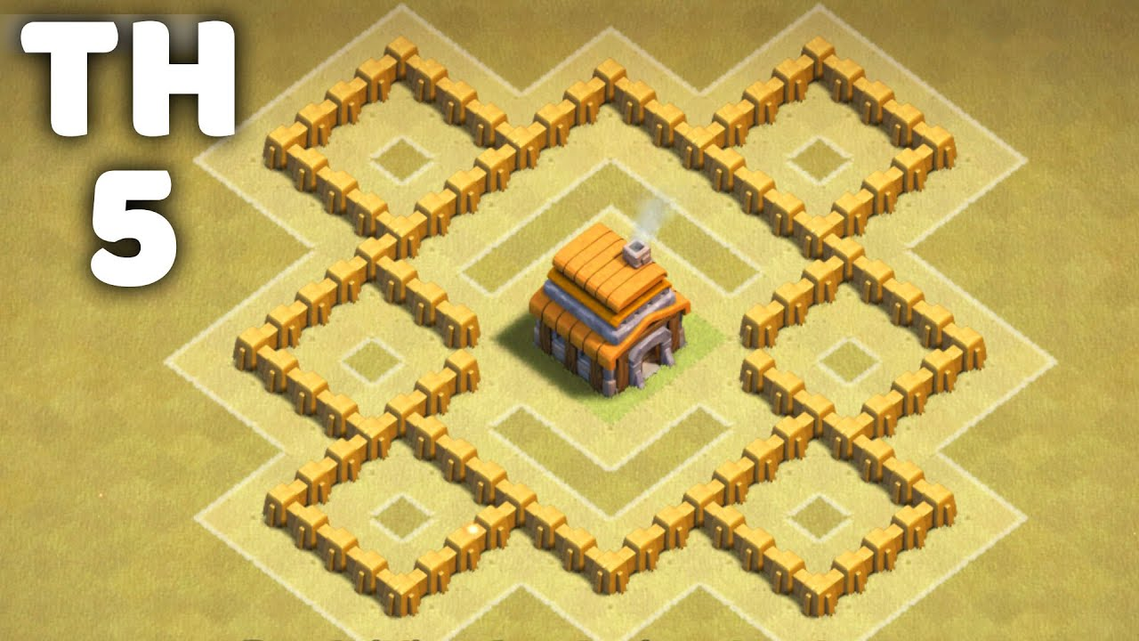 town hall 5 awesome war base clash of clans coc th5 youtube