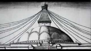 charcoal sketch of Bouda Stupa, 2011