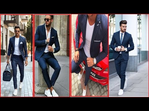 Dark Blue Casual Suits With White T Shirt And White Shoes || For Men 2019