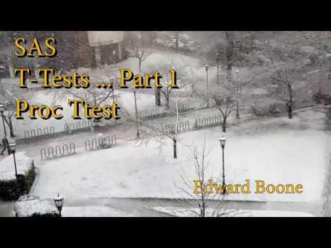 SAS T-tests    Part 1 (PROC TTEST)