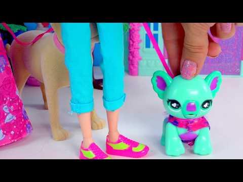 Moxie Girlz Poopsy Pet Koala Eats Treats, Poops, Playset With Princess Barbie + Tanner Dog Toy Video