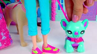 Moxie Girlz Poopsy Pet Koala Eats Treats, Poops, Playset with Princess Barbie + Tanner Dog Toy Video