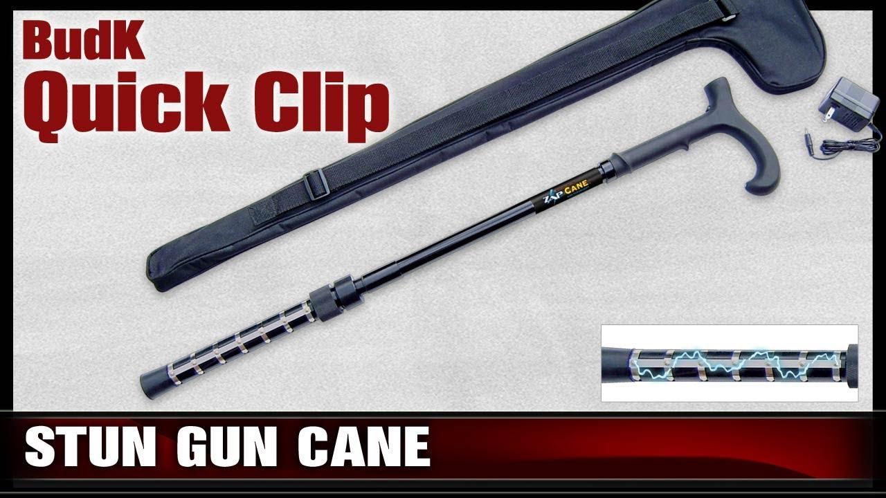 Budk Quick Clip Zap Self Defense Cane With Flashlight