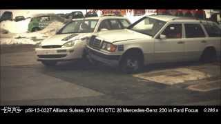1999 Ford Focus Estate Vs. 1990 Mercedes-Benz 230TE Wagon Low-Speed Angled Side Impact