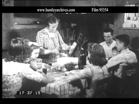Italian woman cooks pasta.  Archive film 95354
