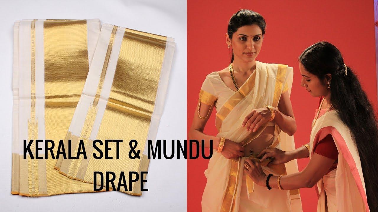 Draping Kerala Set Mundu Traditional Costume Two Piece Style Saree Tutorial Youtube