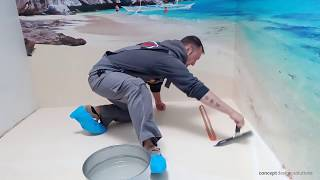 3D Epoxy Floor and walls Bathroom - how to make an 3D Floor, Step by Step Guide - Bathroom Design