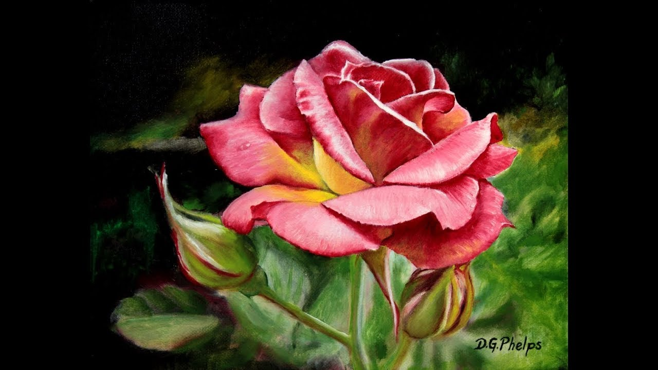 pink rose painting titled