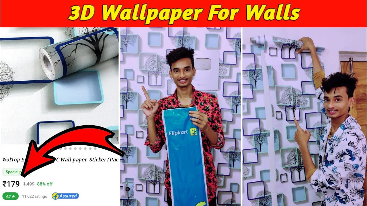 Download 3D Wallpaper For Walls | How to Paste Self Adhesive Wallpaper PVC at Home | 3D Wallpaper | WolTop