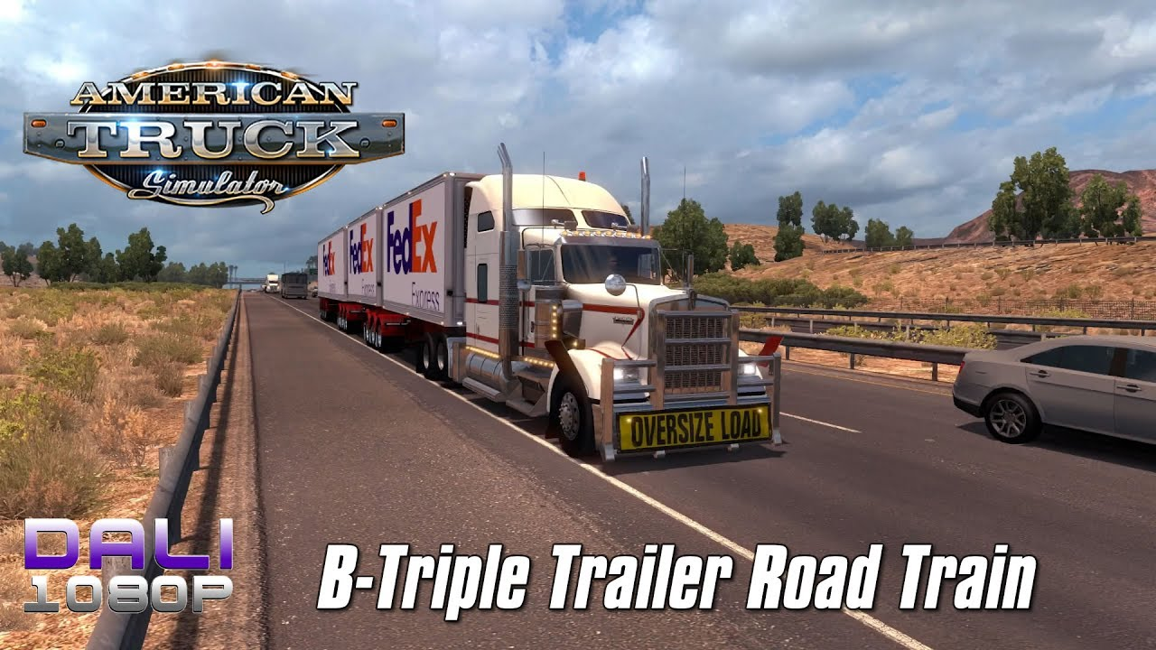 american truck simulator b triple trailer u s road. Black Bedroom Furniture Sets. Home Design Ideas