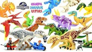 Jurassic World Colorful Dinosaur Variants Indominus rex & Tyrannosaurus rex Unofficial LEGO Set