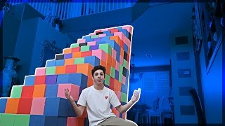BUILDING A FOAM PIT STAIRCASE!! (ATTEMPTING TO CLIMB UP) | Vlogs | FaZe Rug