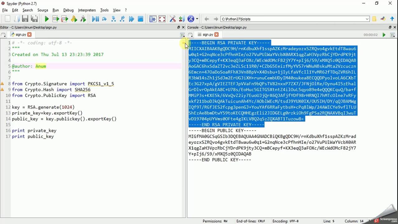 RSA Digital Signature: SIGN in Python pyCrypto & verify in JavaScript  jsrsasign