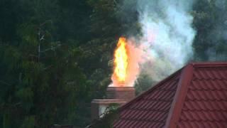 Płonący komin w Więcborku