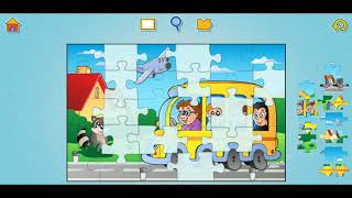 Educational School Bus Fun Jigsaw Puzzle Video For Kids Apps Gameplay